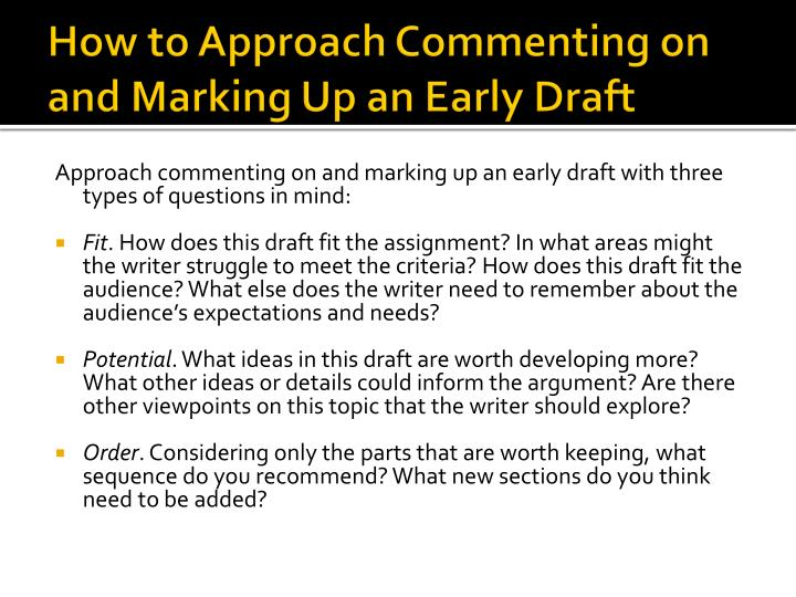 How to Approach Commenting on and Marking Up an Early Draft