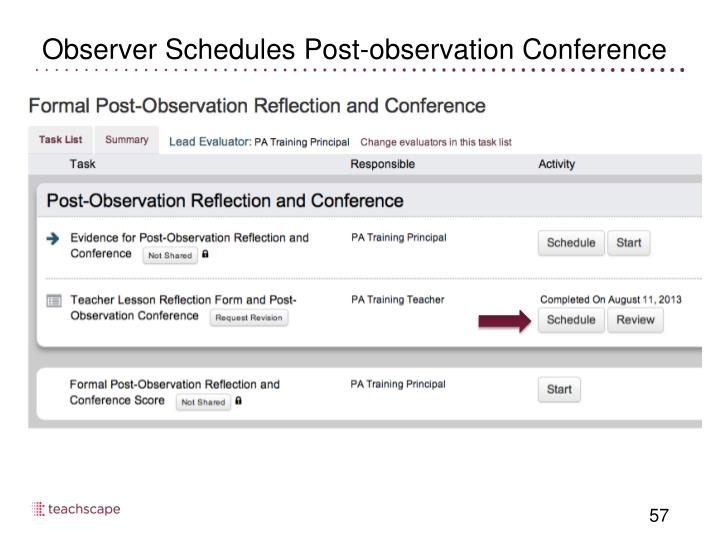 Observer Schedules