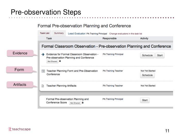 Pre-observation Steps
