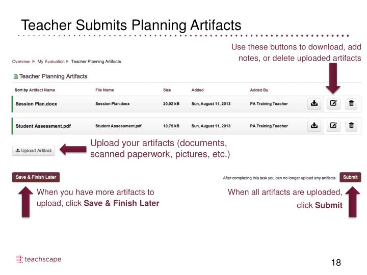 Teacher Submits Planning Artifacts