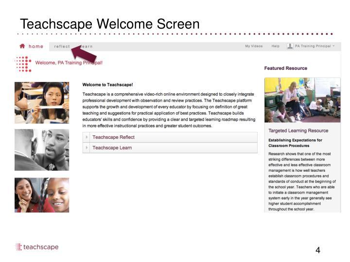 Teachscape Welcome Screen