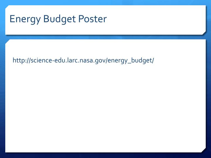 Energy Budget Poster