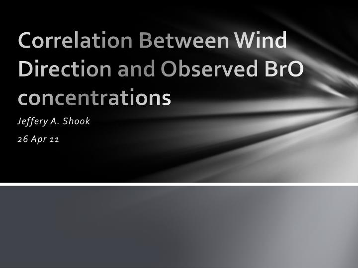 Correlation between wind direction and observed bro concentrations
