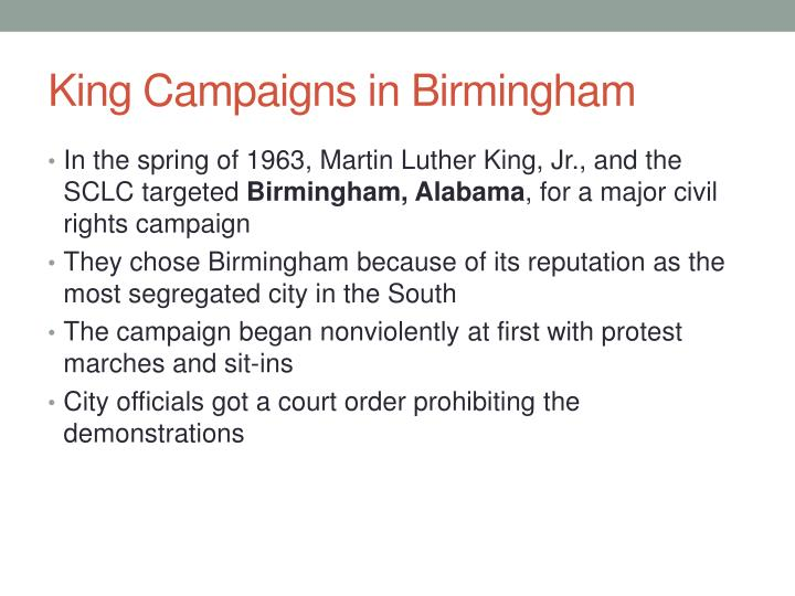 King Campaigns in Birmingham