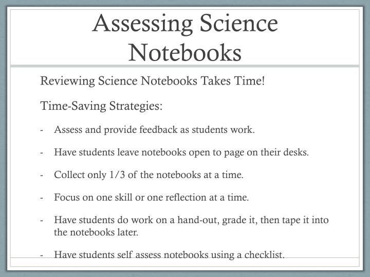 Assessing Science Notebooks