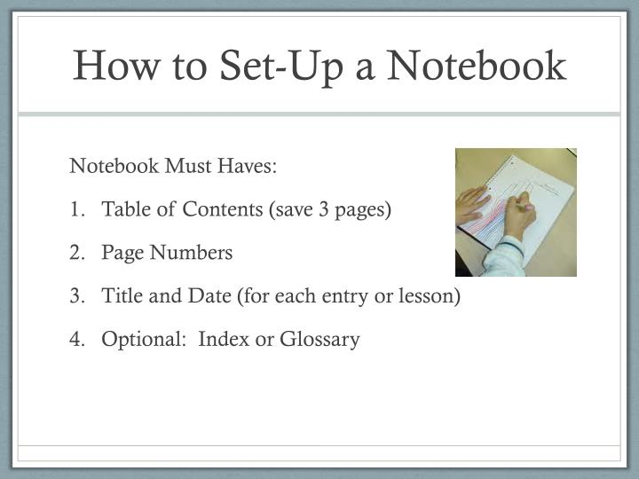 How to Set-Up a Notebook