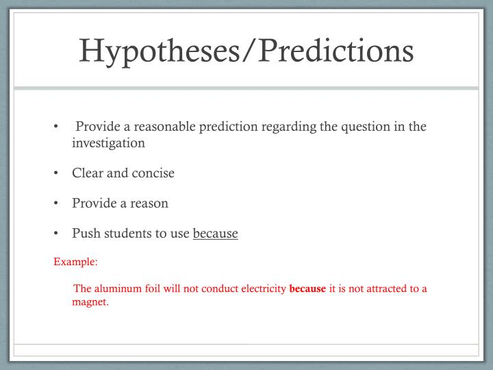 Hypotheses/Predictions