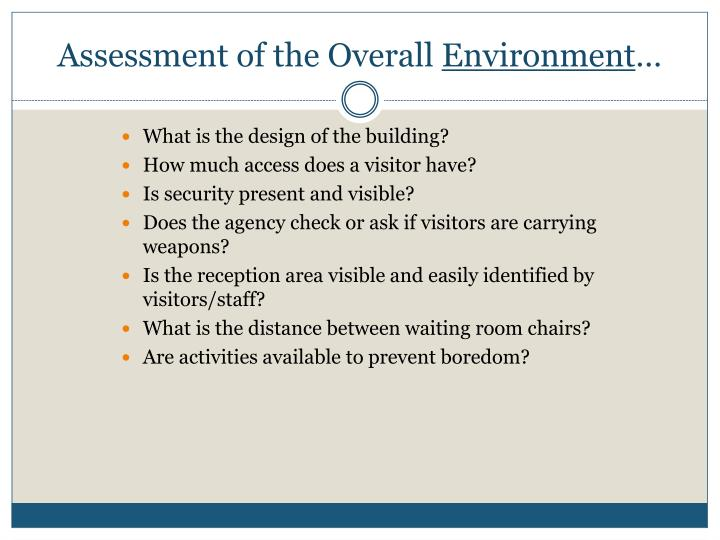 Assessment of the Overall