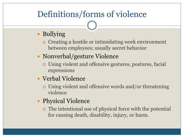 Definitions/forms of violence