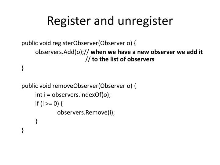 Register and unregister