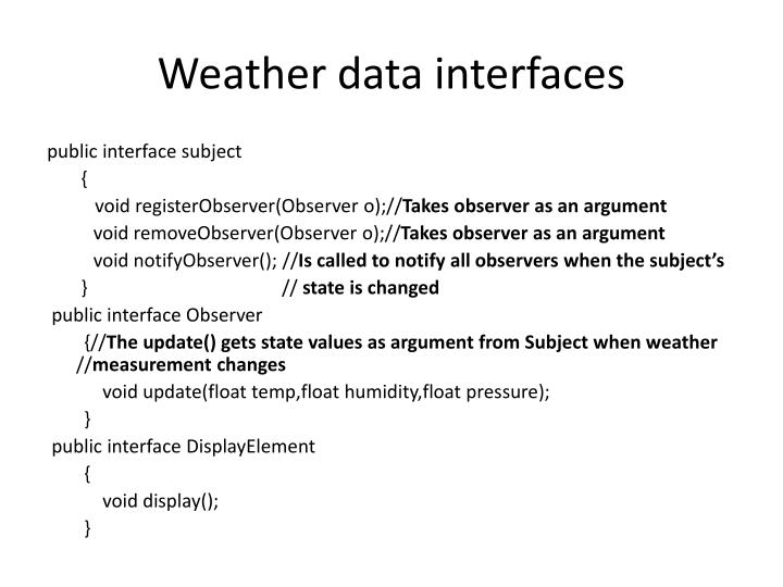 Weather data interfaces