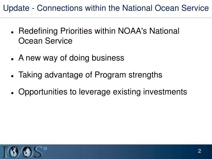 Update - Connections within the National Ocean Service