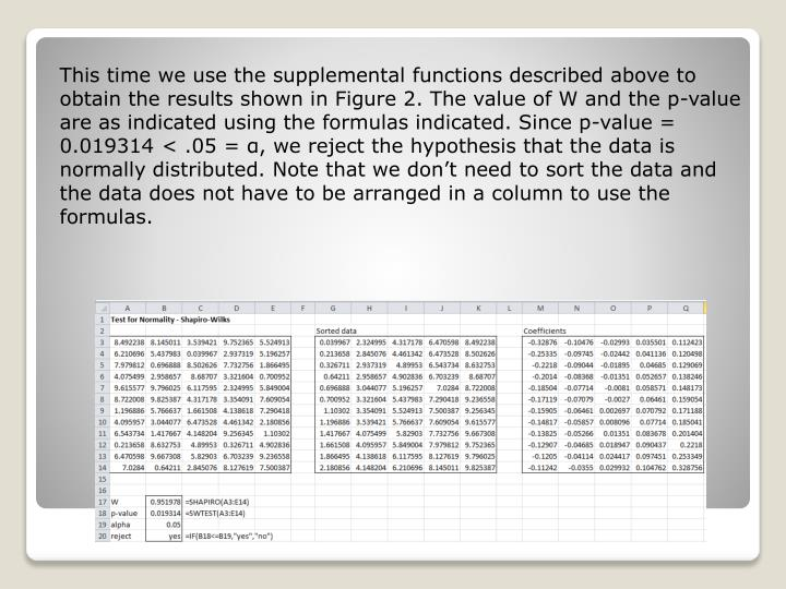 This time we use the supplemental functions described above to obtain the results shown in Figure 2. The value of W and the p-value are as indicated using the formulas indicated. Since p-value = 0.019314 < .05 = α, we reject the hypothesis that the data is normally distributed. Note that we don't need to sort the data and the data does not have to be arranged in a column to use the formulas.