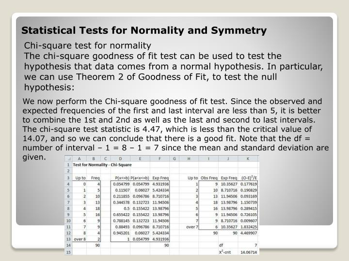 Statistical Tests for Normality and Symmetry