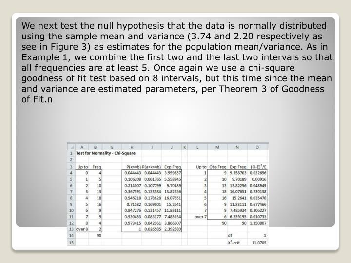 We next test the null hypothesis that the data is normally distributed using the sample mean and variance (3.74 and 2.20 respectively as see in Figure 3) as estimates for the population mean/variance. As in Example 1, we combine the first two and the last two intervals so that all frequencies are at least 5. Once again we use a chi-square goodness of fit test based on 8 intervals, but this time since the mean and variance are estimated parameters, per Theorem 3 of Goodness of