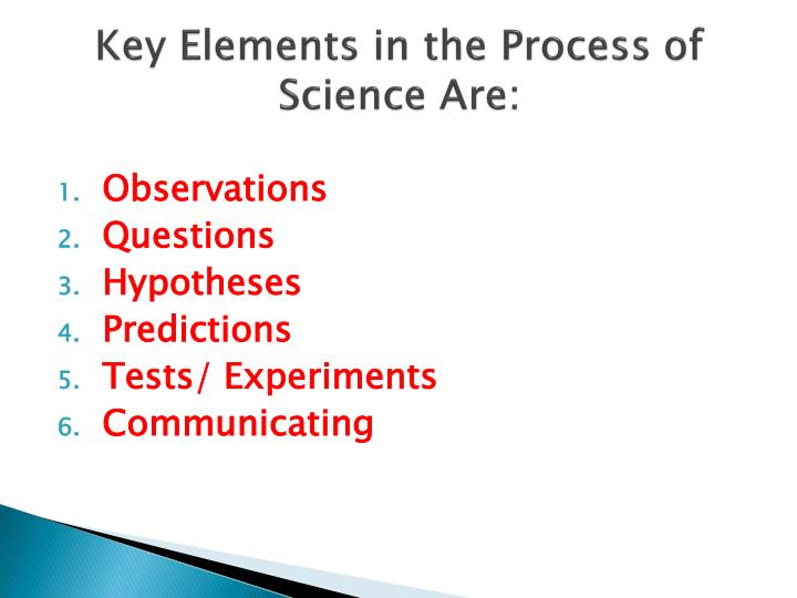 Key Elements in the Process of Science Are: