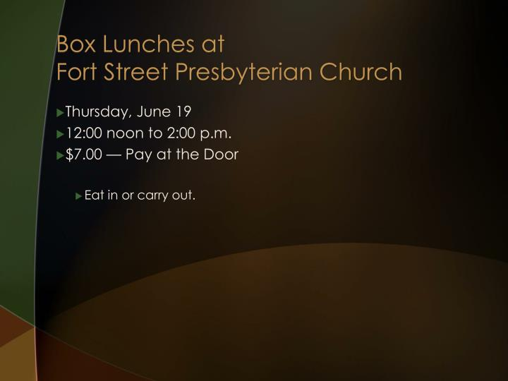 Box Lunches at