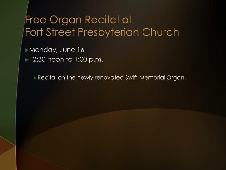 Free Organ Recital at