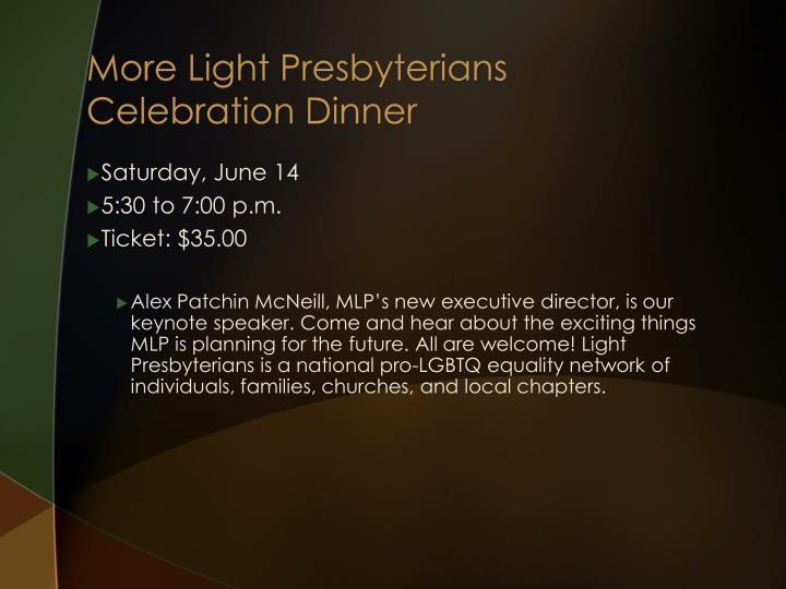More Light Presbyterians Celebration Dinner