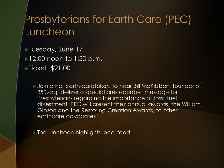 Presbyterians for Earth Care (PEC)
