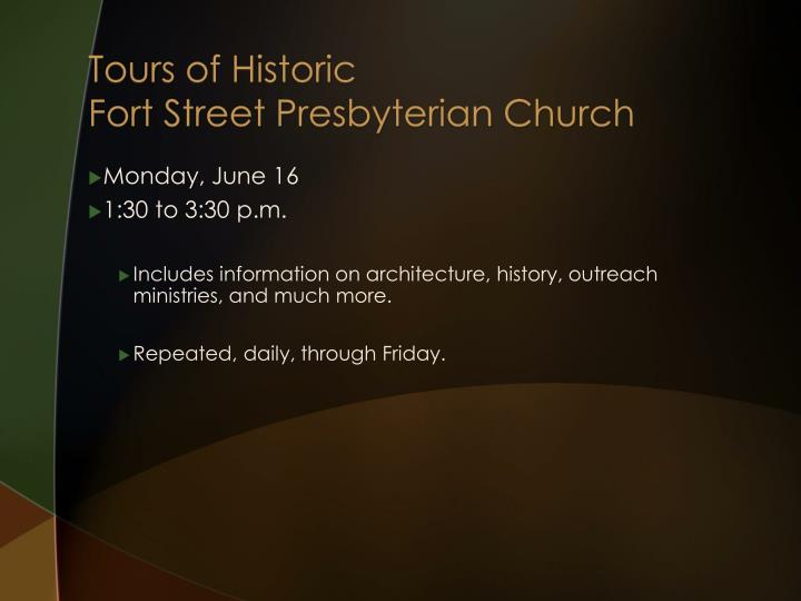 Tours of Historic