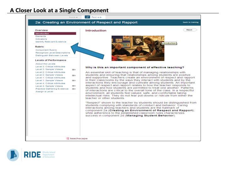 A Closer Look at a Single Component