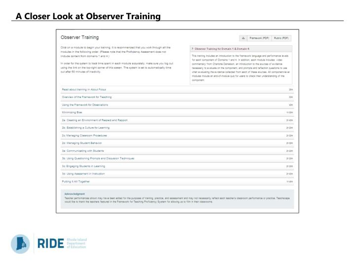 A Closer Look at Observer Training