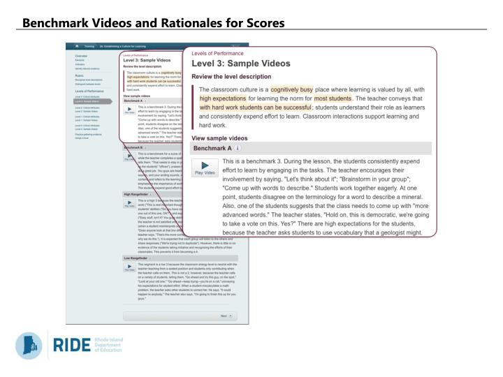 Benchmark Videos and Rationales for Scores