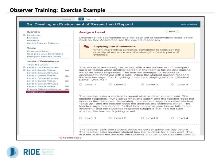 Observer Training:  Exercise Example