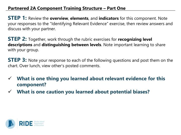 Partnered 2A Component Training Structure – Part One