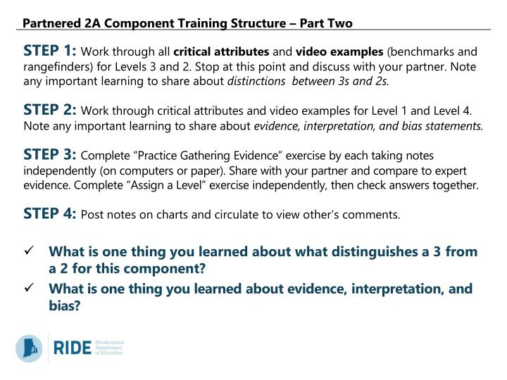 Partnered 2A Component Training Structure – Part Two