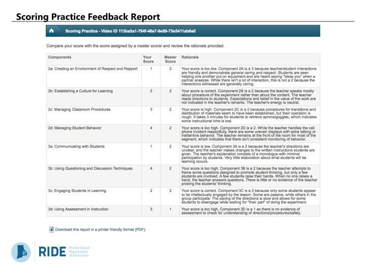 Scoring Practice Feedback Report