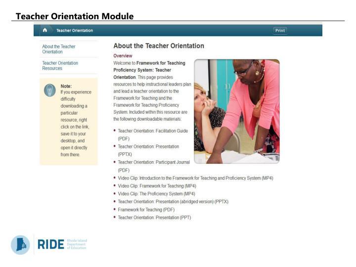 Teacher Orientation Module