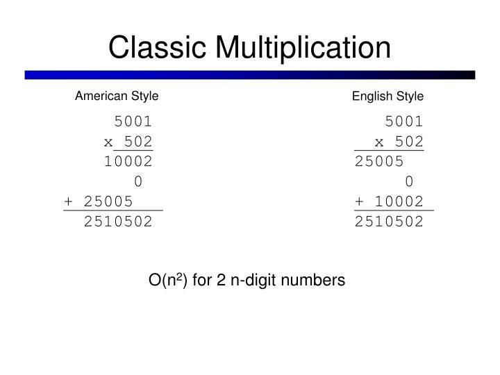 Classic Multiplication