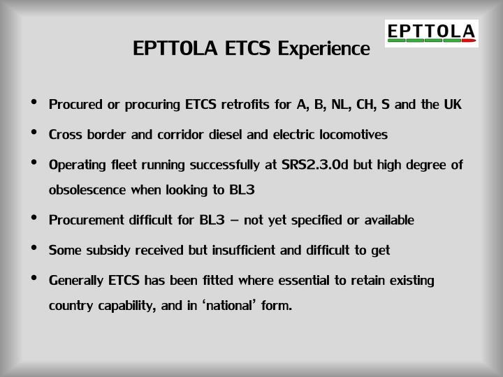 EPTTOLA ETCS Experience
