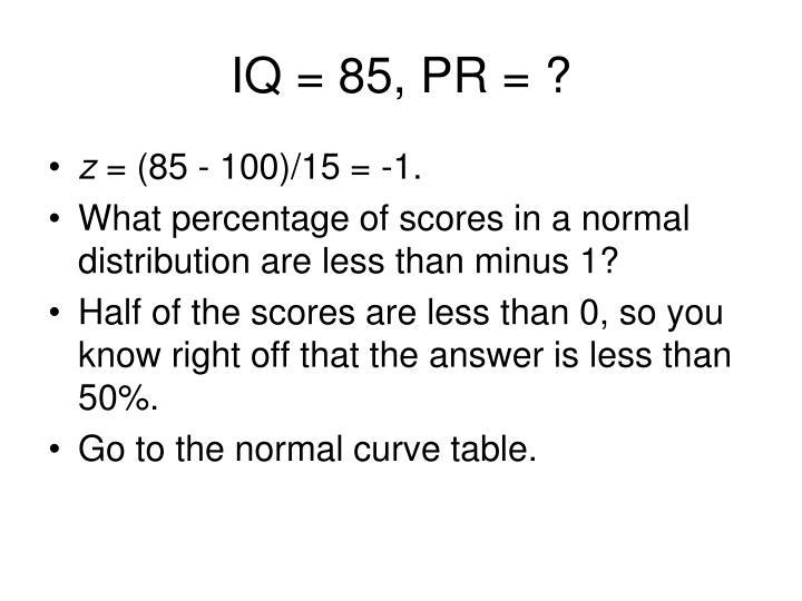 IQ = 85, PR = ?