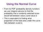 using the normal curve