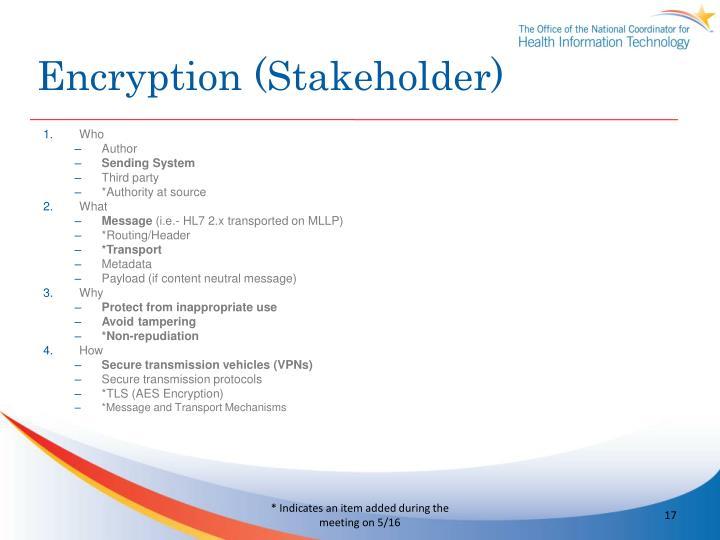 Encryption (Stakeholder)