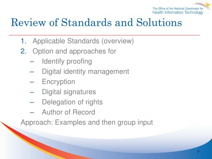 Review of Standards and Solutions