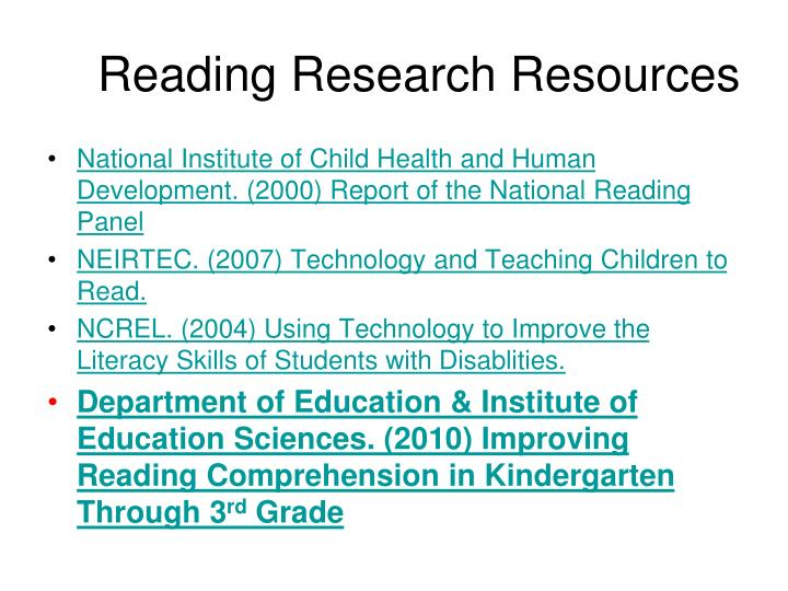 Reading Research Resources