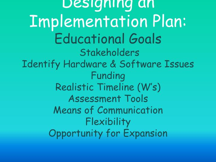 Designing an Implementation Plan: