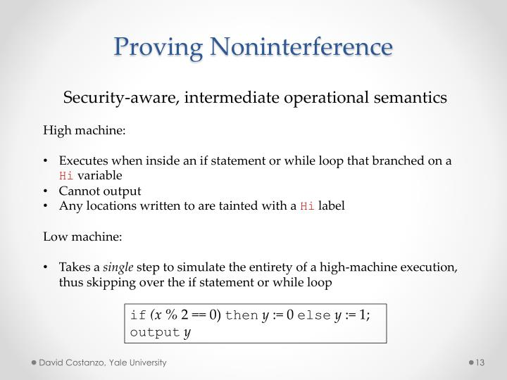 Proving Noninterference