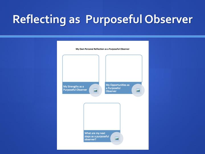 Reflecting as  Purposeful Observer