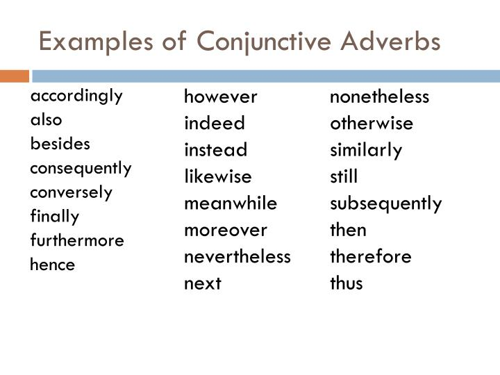 Examples of Conjunctive Adverbs