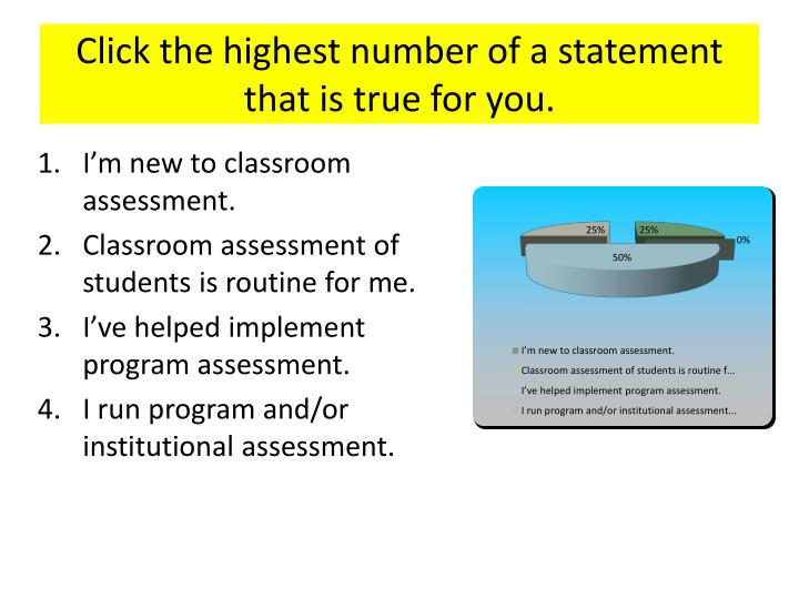 Click the highest number of a statement that is true for you.