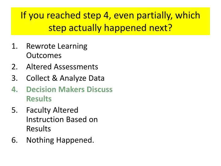If you reached step 4, even partially, which step actually happened next?