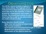 observing log