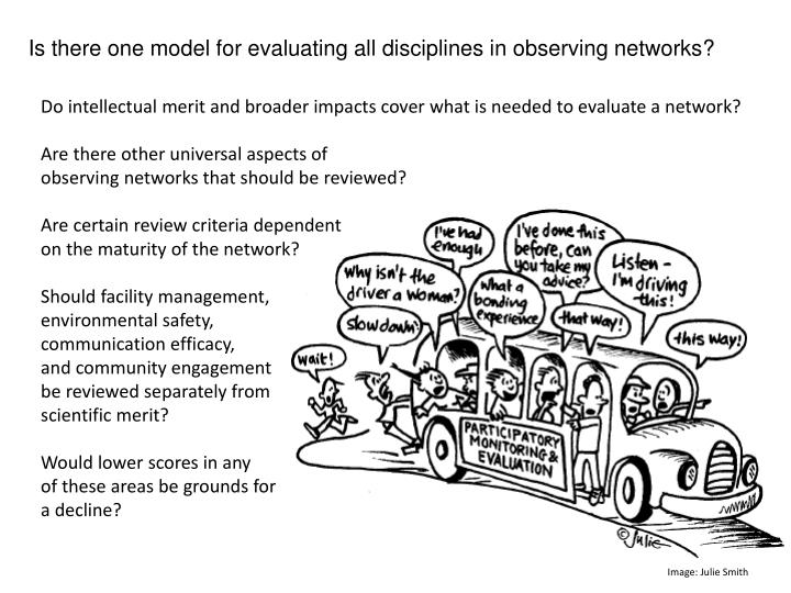 Is there one model for evaluating all disciplines in observing networks?
