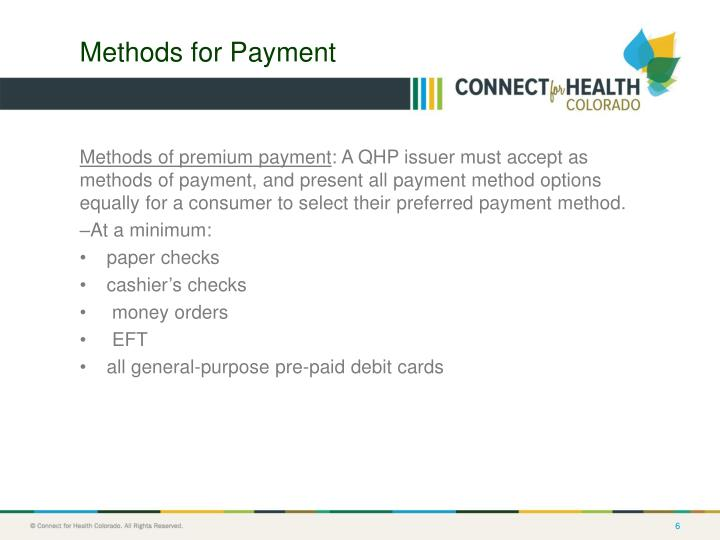 Methods for Payment