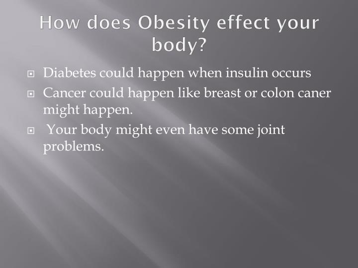 How does Obesity effect your body?